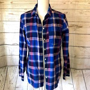 Old Navy blue & pink plaid button down blouse